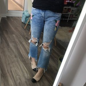 Zara distressed jeans with floral patches